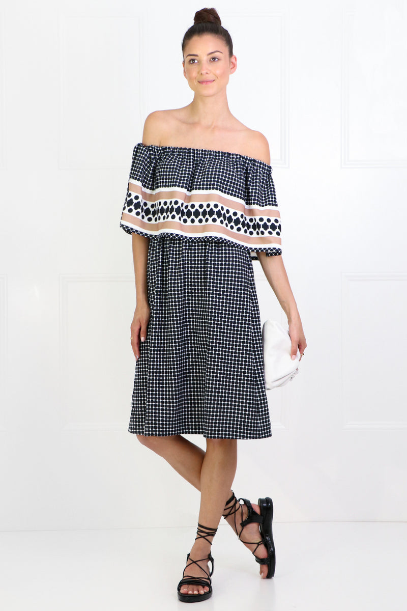 QUATRE SAISON RUFFLE DRESS NUTMEG