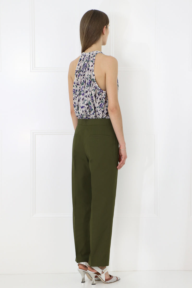 CROPPED SLIM LEG PANTS FOREST GREEN