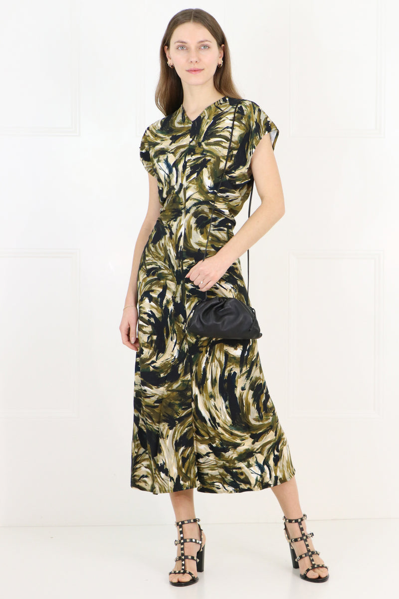 SAFARI PRINT CAP/SL MIDI DRESS FATIGUE