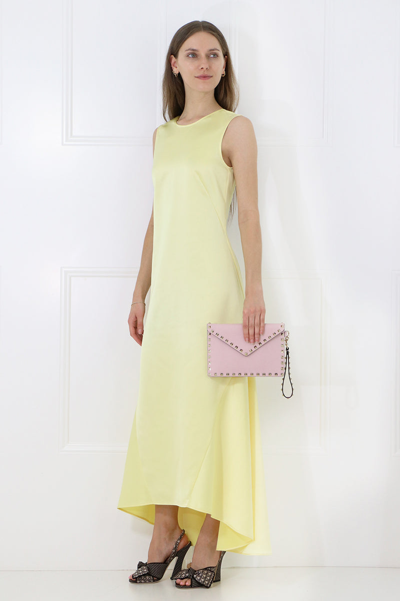 LOW BACK MAXI DRESS S/LESS LEMON