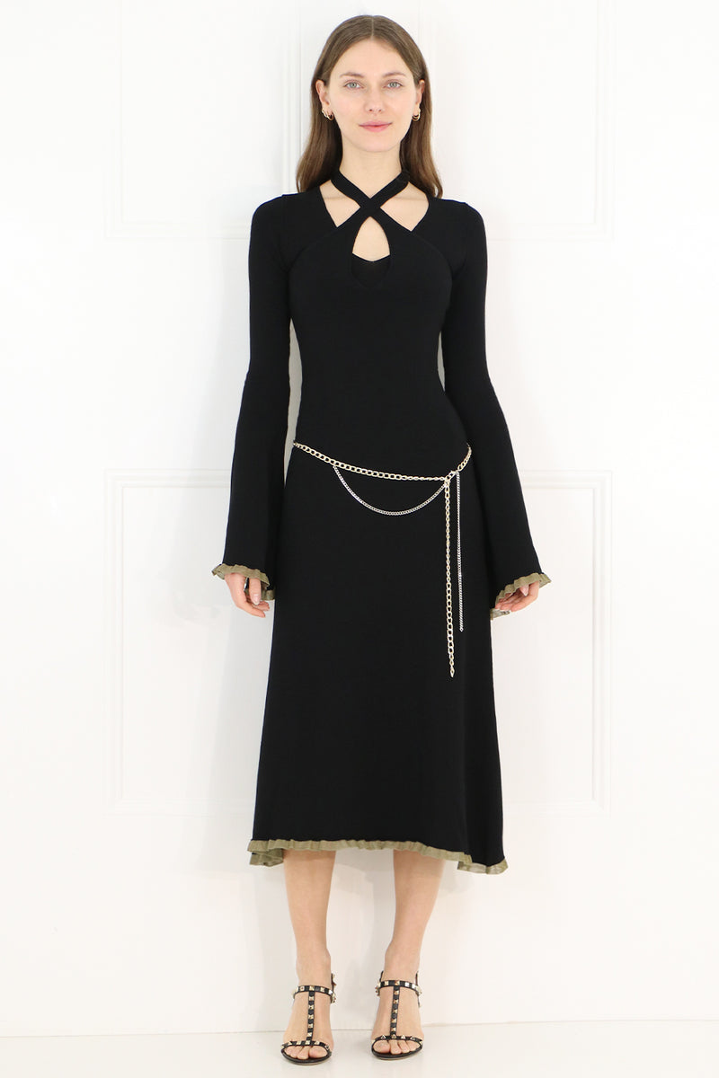DOUBLE LAYER KNIT DRESS L/S BLACK