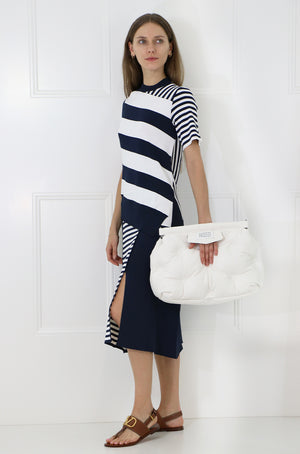 ASYMMETRIC STRIPE KNIT SKIRT NAVY/WHITE