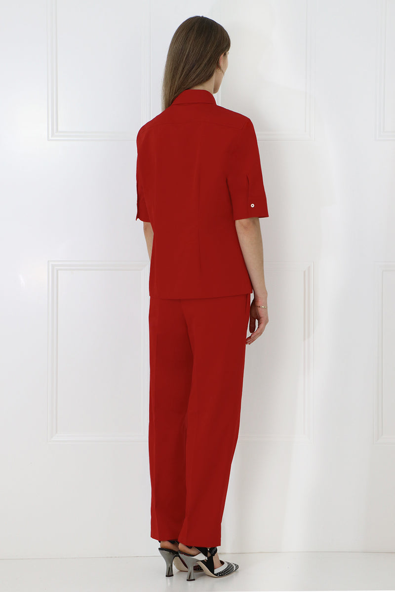 CROPPED STRAIGHT LEG PANTS DEEP RED