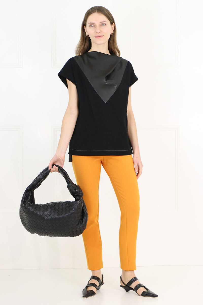 LEATHER INSERT BLOUSE CAP/SL BLACK