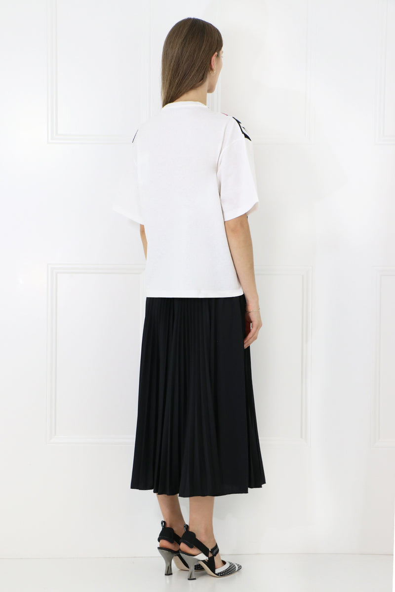 PLISSE LOGO SKIRT BLACK/WHITE