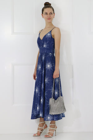 SHOOTING STAR MIDI DRESS S/LESS NAVY