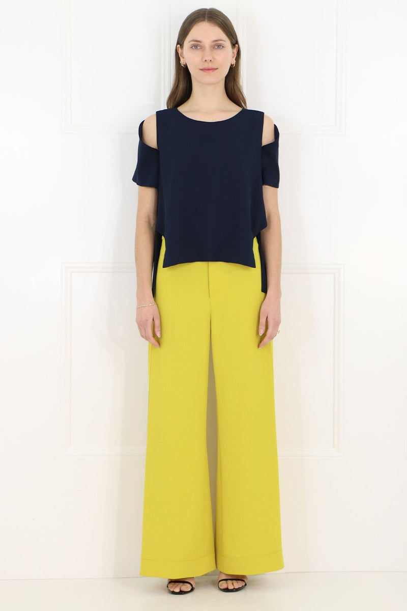 FLUID SPLIT LEG PANTS YELLOW
