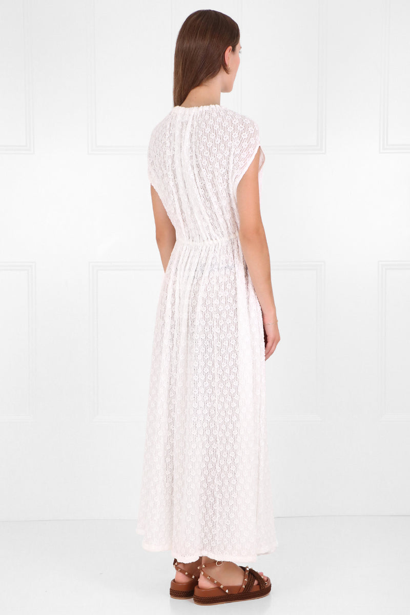 EMBROIDERED LACE DRESS CAP/SL WHITE