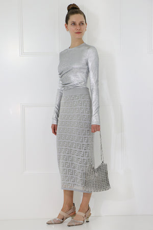 LOGO KNIT SKIRT SILVER