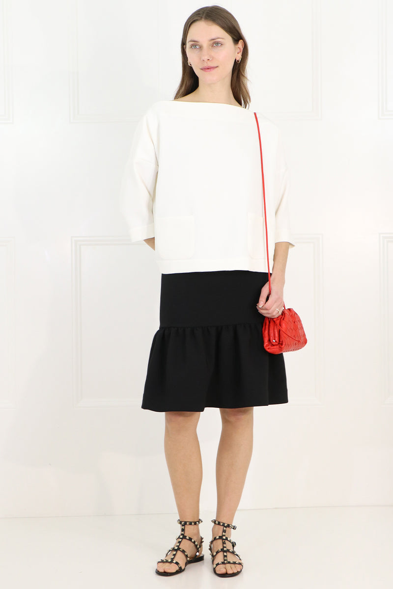 TISSUE MIDI PEPLUM SKIRT BLACK