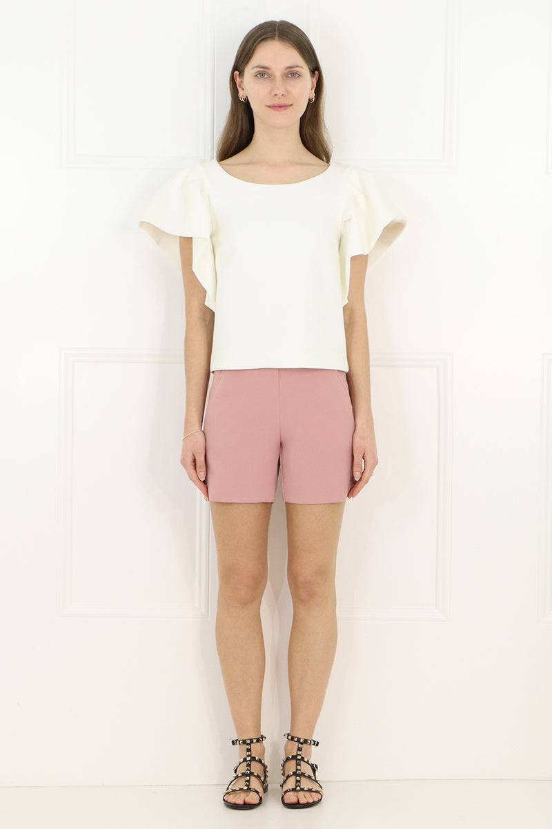 TISSUE CROP TOP WITH PUFF SLEEVE IVORY