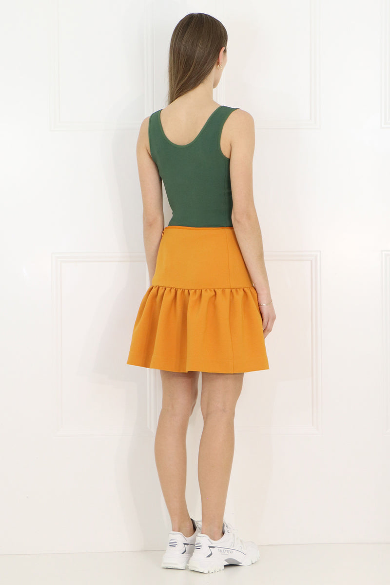 TISSUE MINI PEPLUM SKIRT EARTH