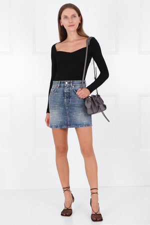 LASERED LOGO DENIM MINI SKIRT DARK BLUE