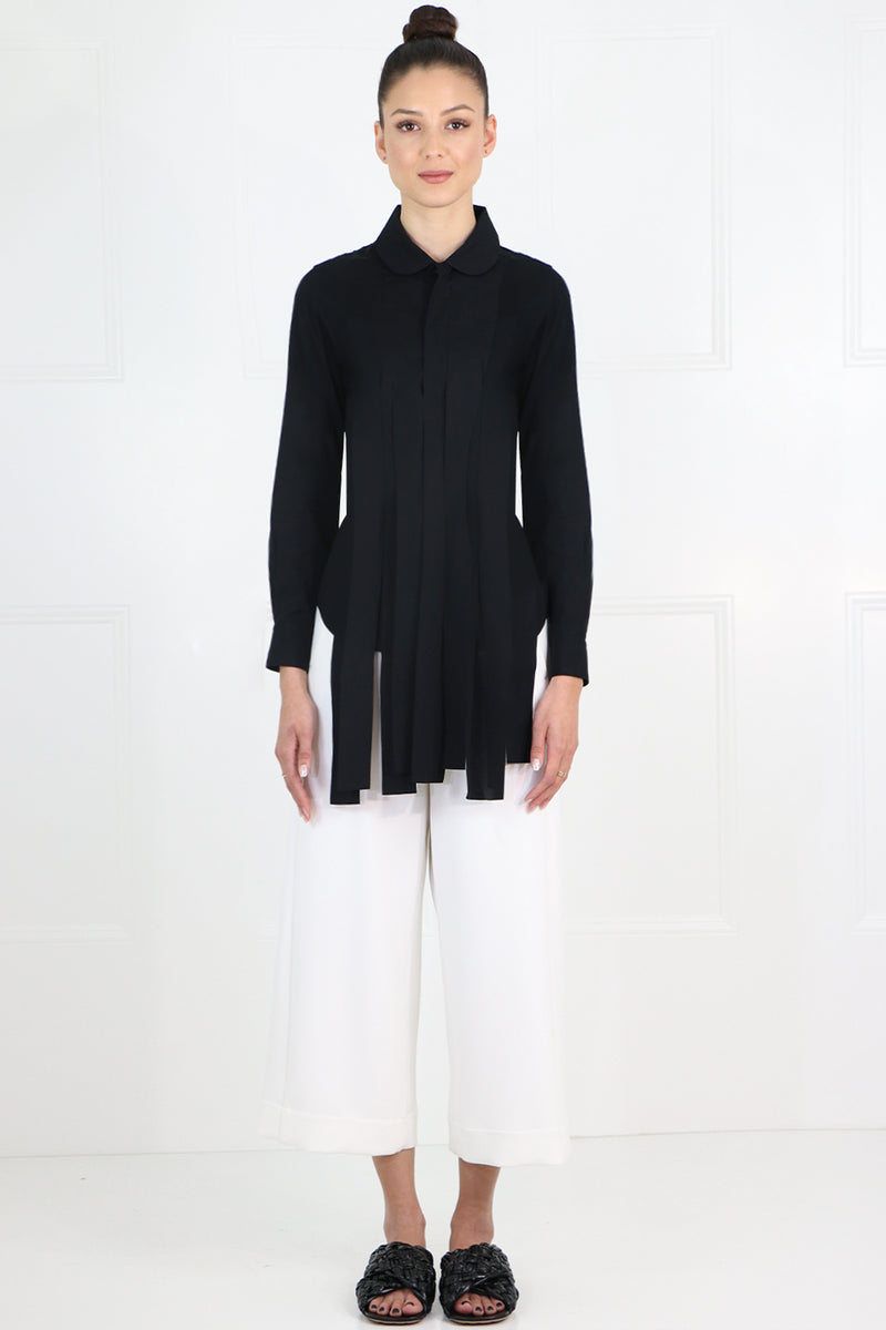 FRINGED SHIRT L/S BLACK