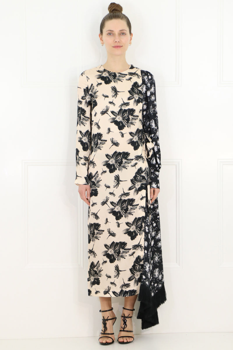 LOUISE FLORAL PRINT DRESS L/S BLACK/IVORY