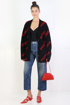 LOGO CARDIGAN RED/BLACK
