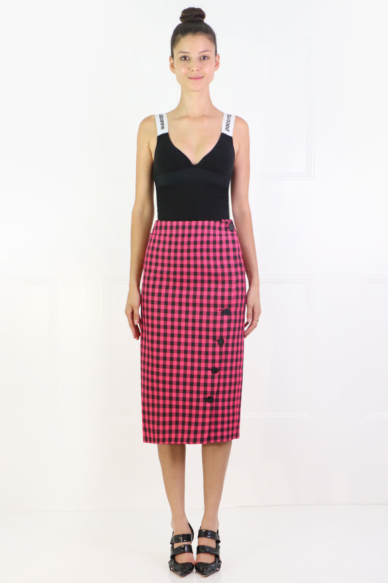 BUTTONED CHECK PENCIL SKIRT PINK