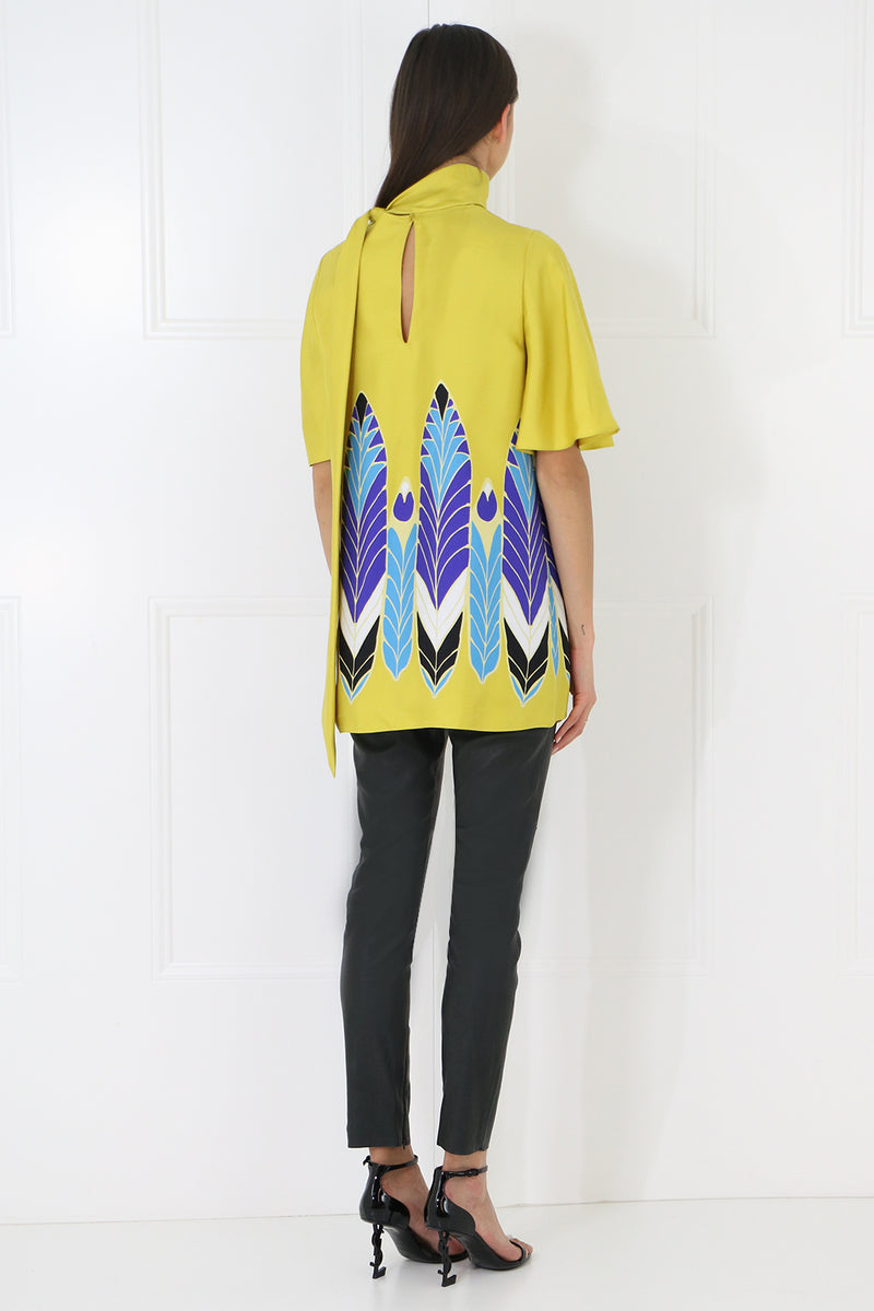 FEATHER PRINT BLOUSE S/S YELLOW