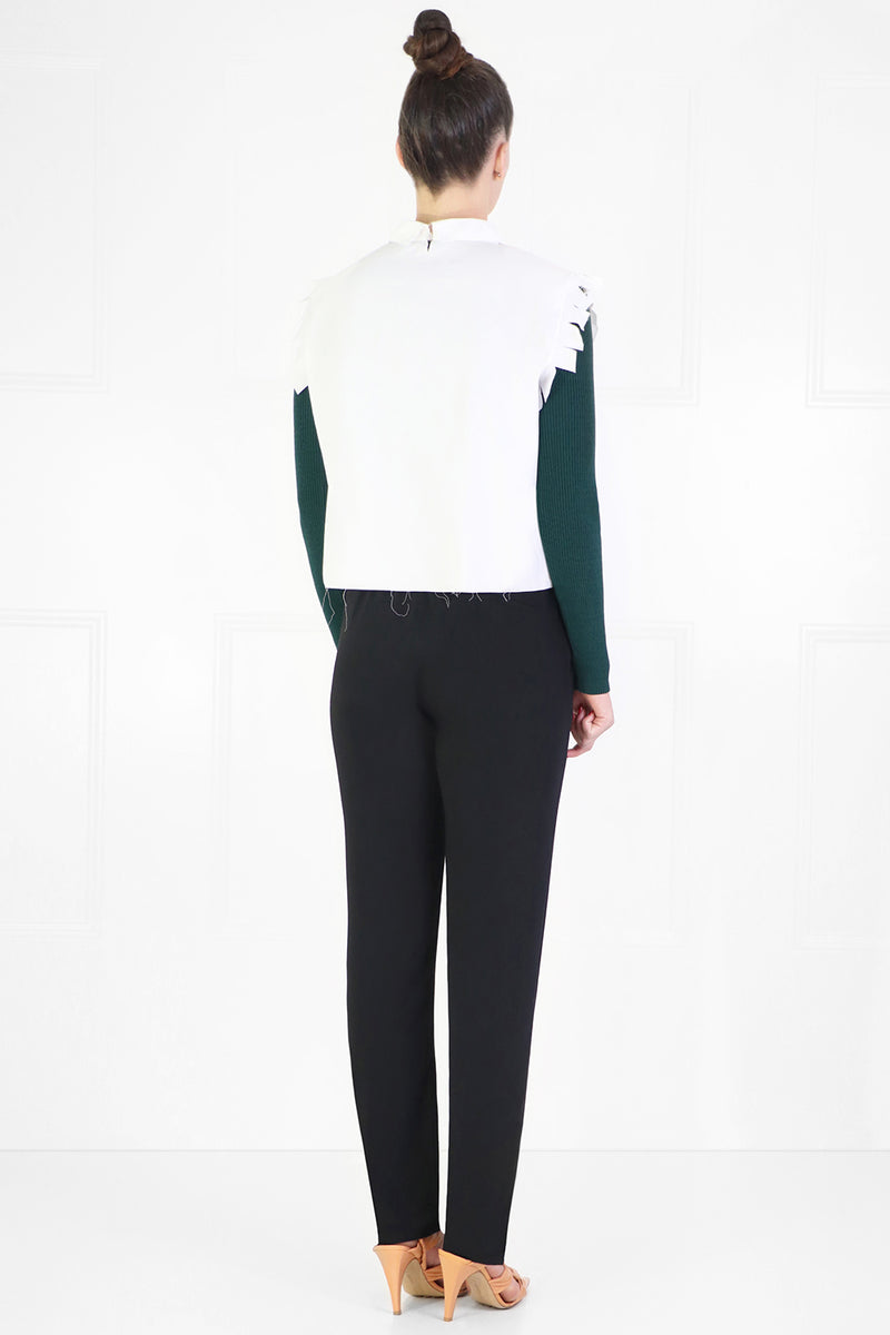 LAYERED KNIT TOP L/S DARK GREEN