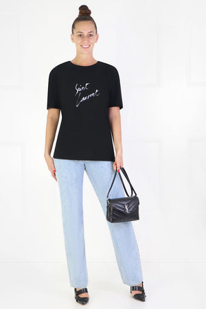 SIGNATURE YSL LOGO T-SHIRT S/S BLACK