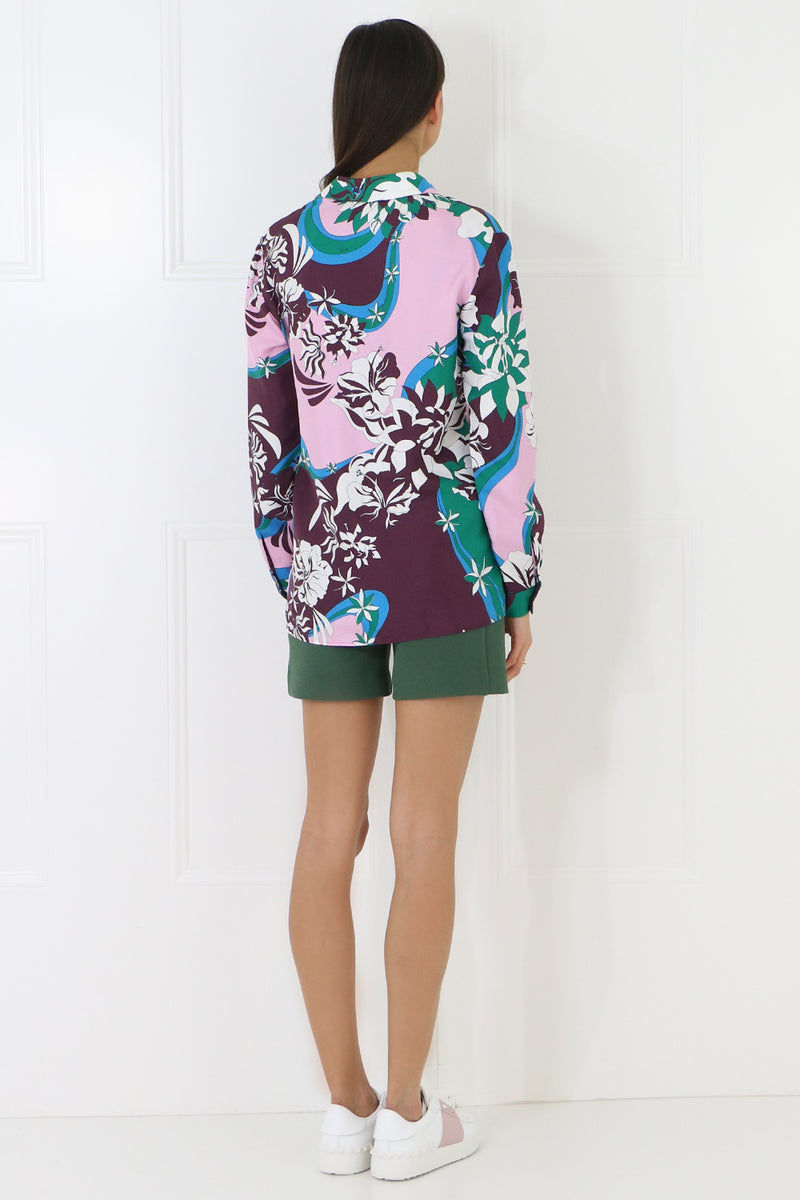 FLOWER PRINT BLOUSE L/S GREEN/PURPLE