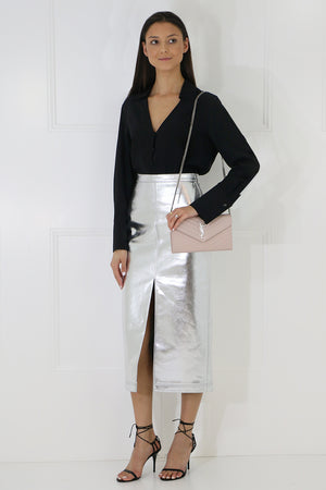 PENCIL SKIRT SILVER