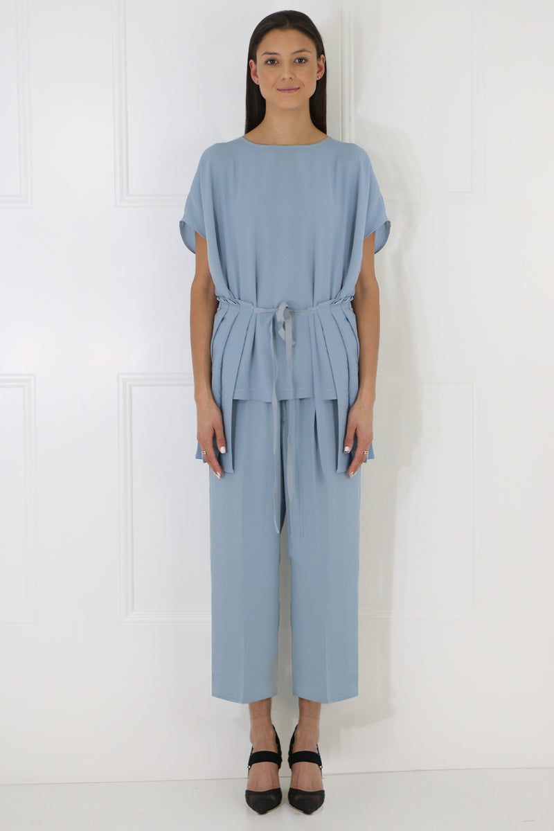 TIE UP PLEATED BLOUSE S/S ICE BLUE
