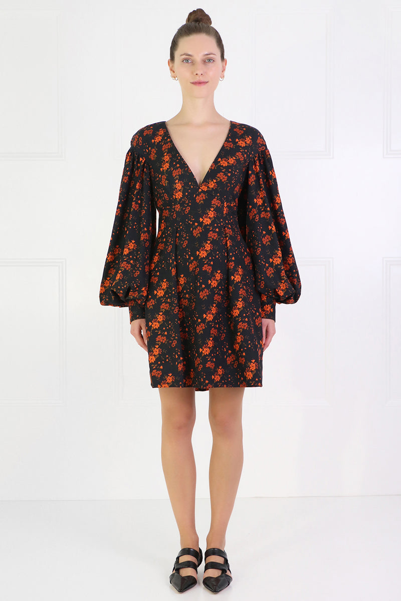 HEIDI V-NECK MINI DRESS L/S NOIR BLOSSOM