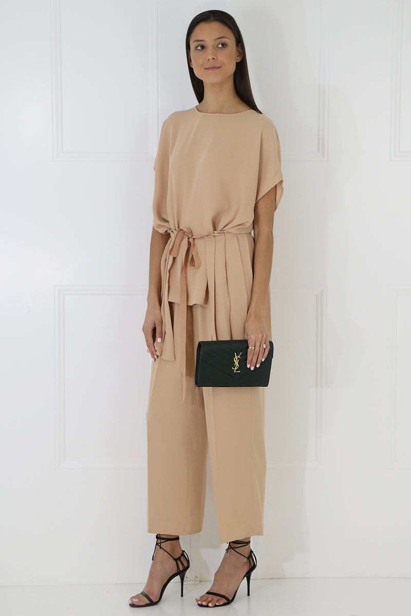 TIE UP PLEATED BLOUSE S/S NUDE