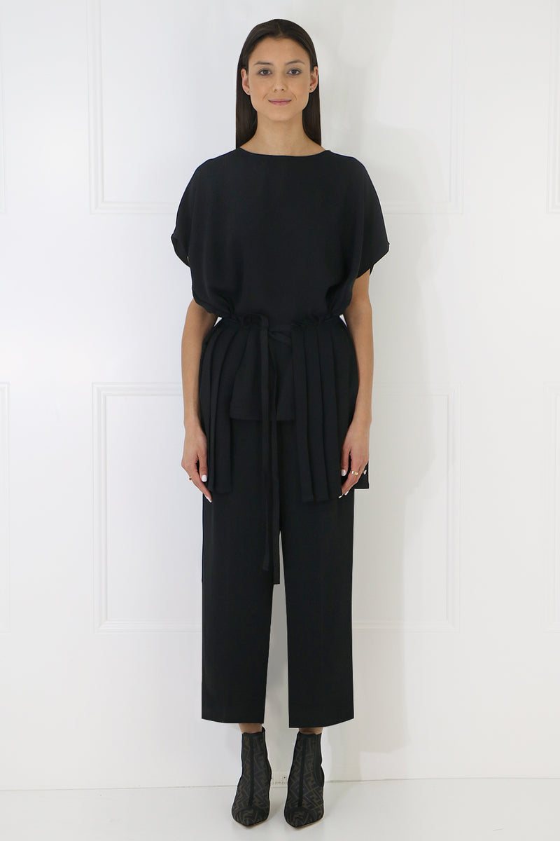 TIE UP PLEATED BLOUSE S/S BLACK