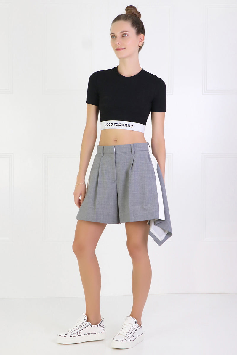 PLEATED SUITING SHORTS GREY