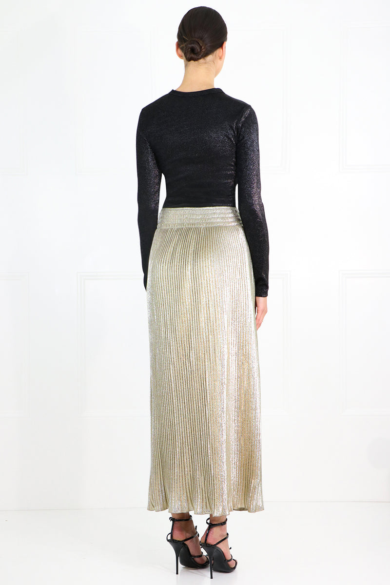 PLEATED LUREX MAXI SKIRT GOLD