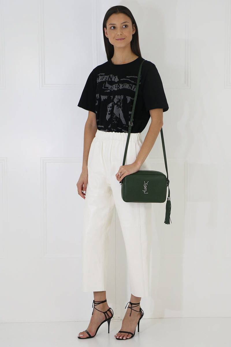 LEATHER CROP PANT OFF WHITE