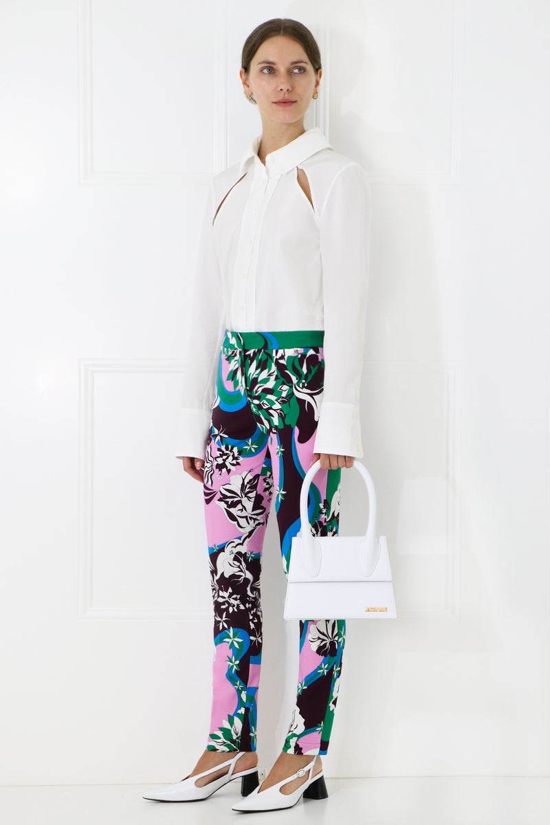 FLOWER PRINT SKINNY TROUSER GREEN/PURPLE