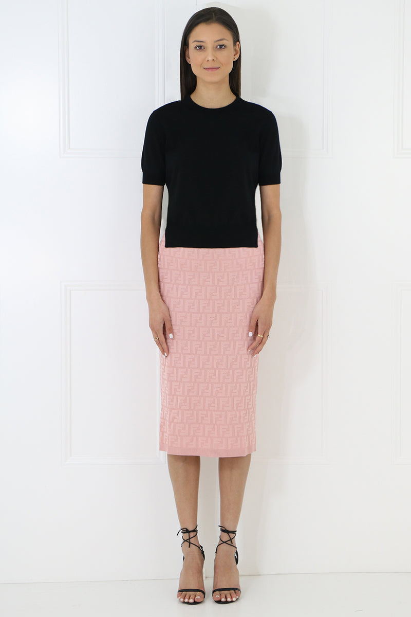 LOGO KNIT PENCIL SKIRT PINK