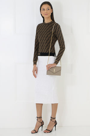 LOGO KNIT PENCIL SKIRT WHITE
