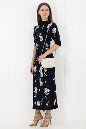 FLORAL JACQUARD DRESS S/S NAVY