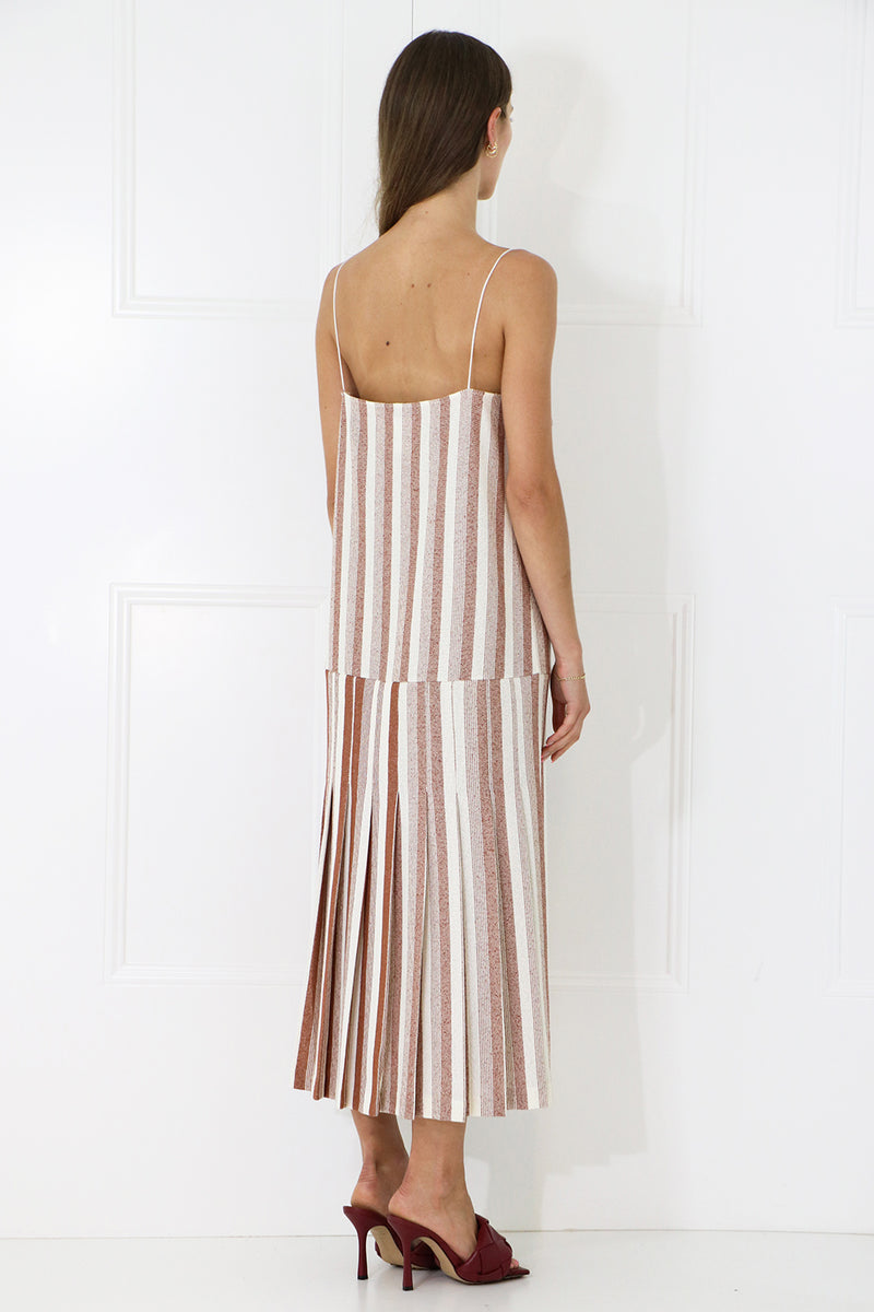 STRIPED SLIP DRESS WITH BOTTOM PLEAT BRICK