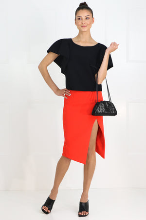 TISSUE CROP TOP WITH PUFF SLEEVE BLACK