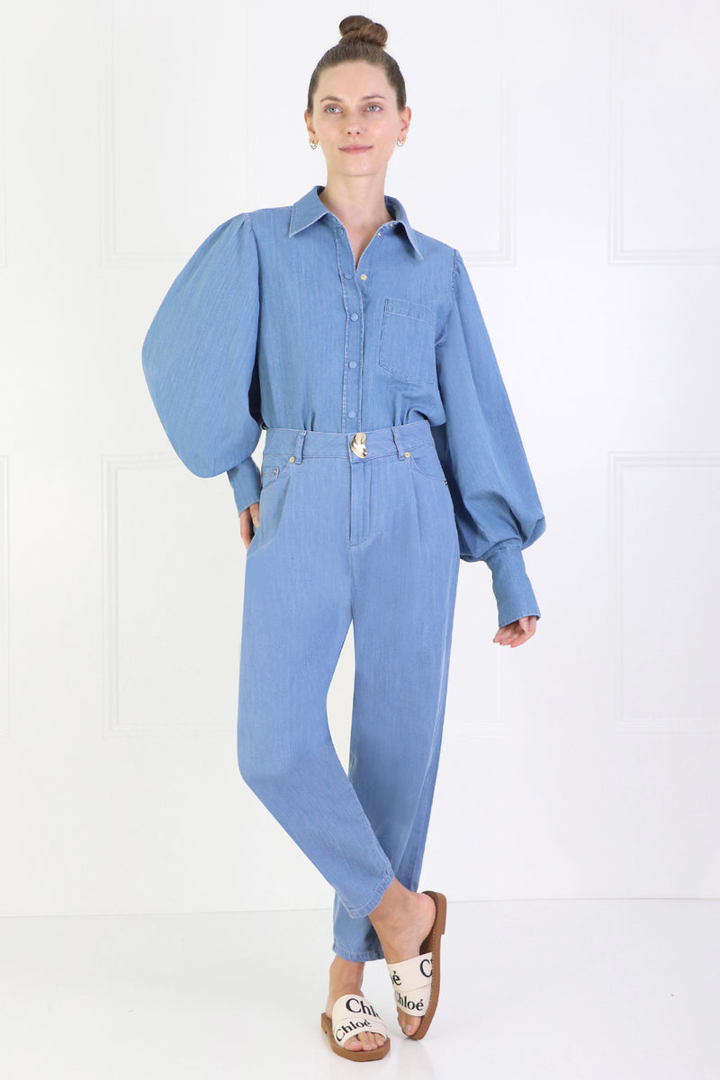 DARCIE OVERSIZED DENIM SHIRT BLUE