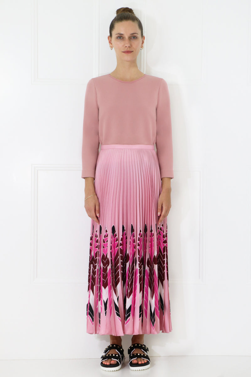 FEATHER PRINT PLEATED SKIRT ROSE