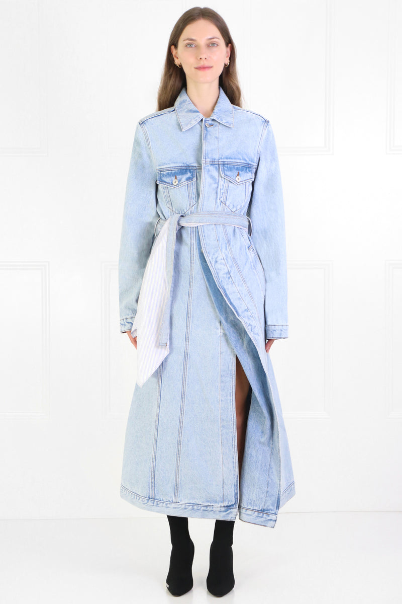 PULLED LINING DENIM COAT ICE BLUE
