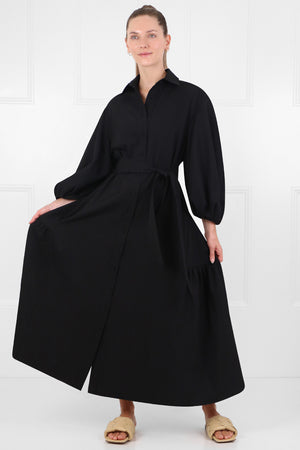LONG BALLOON DRESS L/S BLACK