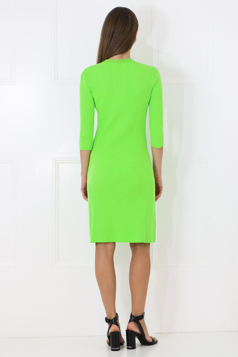 RIB KNIT DRESS 3/4SL DAYGLOW GREEN