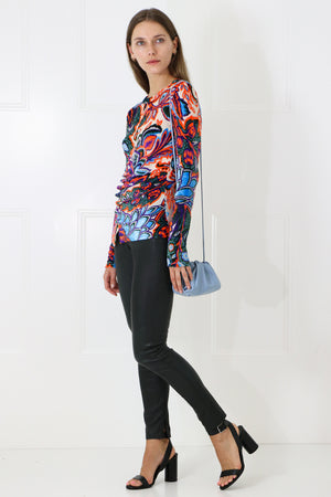 VELVET PAISLEY RUCHED TOP L/S MULTI PRINT