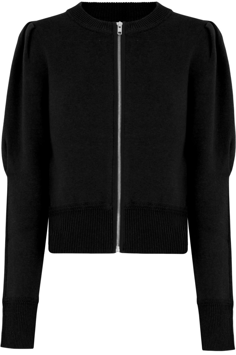 ETOILE LEMMY ZIPPED DOUBLE KNIT L/S BLACK