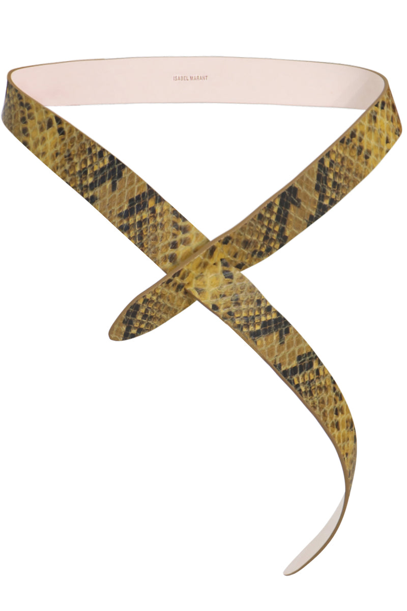 LECCE PYTHON EFFECT BELT YELLOW