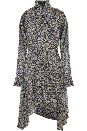 ETOILE PAMELA PRINTED WRAP DRESS L/S BLACK