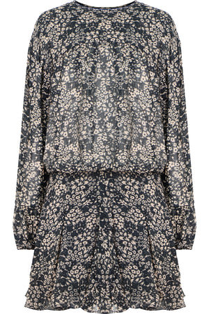 ETOILE NIMAZU PRINTED MINI DRESS L/S BLACK