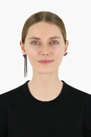 A WILD SHORE ASYMMETRIC DROP EARRINGS BLACK/SILVER